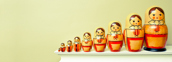 Russian dolls in a row